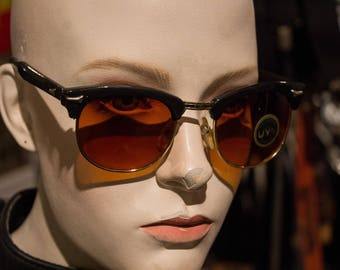 new old stock - vintage 1980s browline style sunglasses - amber and gold