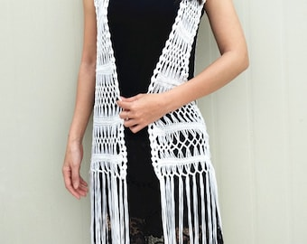 Long Fringe Crochet Vest Beach Cover Up