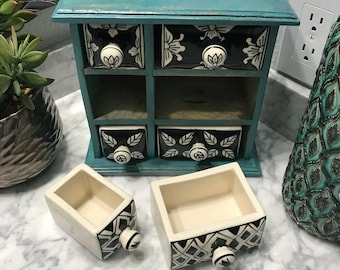 Apothecary Cabinet with 6 Ceramic Drawers, Hand Painted Wooden Cabinet Dresser Style Tea Bag Storage or Paraphernalia Box,  Item #601185553