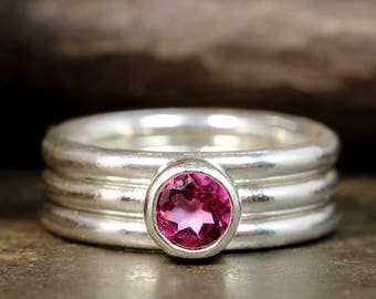Set of Three Natural Mystic Pink Topaz, 925 Solid Sterling Silver Handcrafted Artisan Gemstone Stacking, Stack, Stackable Birthstone Ring