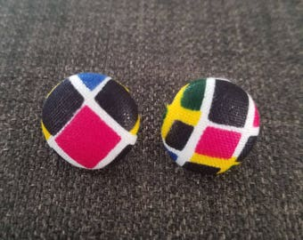 Multi-Colored African Material Button Earring