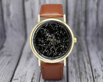 Vintage Constellation Watch   Celestial   Stars   Northern Hemisphere   Leather Watch   Ladies   Men's   Gift Ideas   Fashion Accessories