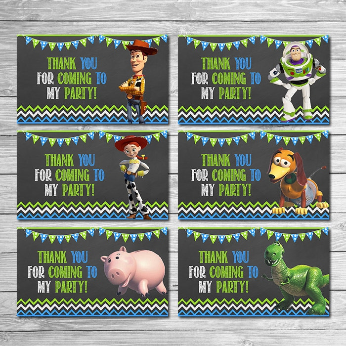 Toy Story Party Tags Chalkboard Green Blue