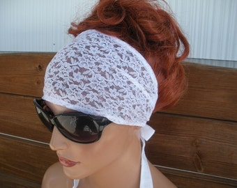 Womens Headband Lace Fabric Headband Summer Fashion Accessories Women Headscarf Headwrap in White Lace Headband  - Choose color