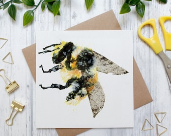 Bumble Bee Blank Greeting Card, Countryside and Wildlife, British Bees, Bumble Bee Gift, Blank Card