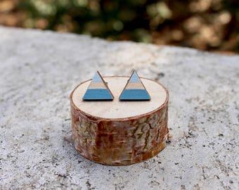 Triangle Wood Earrings // Blue Ombre Geometric // Striped Earrings // Color Block Earrings // Hand Painted Studs // Slate Blue Studs