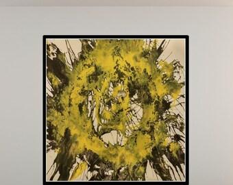 Abstrakte Malerei, gelb, schwarz original Drucke, Fine Art Print, abstrakte Malerei, Wand-Dekor, zeitgenössische Kunst Kunstdruck, Wandkunst,