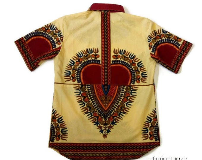 Beige African Print Matching Dashiki Family Reunion Wedding Anniversary Shirts, All sizes Shirts For Groomsmen Sibling Twins And Triplets