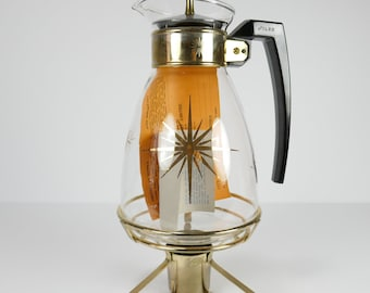 Starburst Vintage Silex verre café verseuse Pot avec couvercle et socle mi Vintage siècle atomique