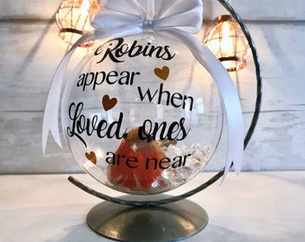 Christmas robin bauble, memorial bauble, robins appear, bauble on stand, loved ones bauble, Transparent bauble, Christmas robin, Christmas,