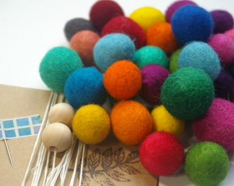 Multicolor Wool Bead Garland Kit : DIY Hand Dyed Felted Wool Ball Banner (4-6 foot Decoration) Craft Kit