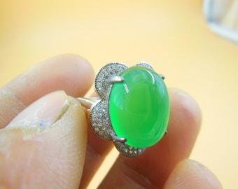 Natural inlaid green jade ring 925 silver mosaic ring (ring can adjust the size)
