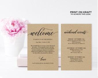 "Wedding Welcome Bag Note, Rustic wedding, Wedding Calligraphy, Welcome Bag Letter, Printable Wedding Itinerary, Agenda | 4x6"" | No. EDN 5207"