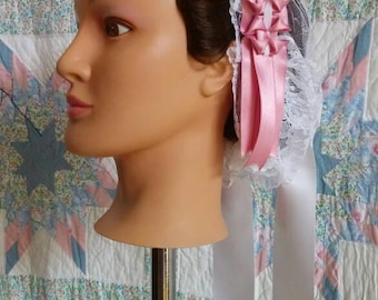 Pink Ribboned White Lacy Daycap with Ribbon Lappets