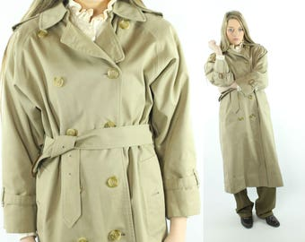 1990s BURBERRYS Trench Coat Double Breasted Pea Coat Overcoat Nova Check Vintage 90s 4 X-Long Small S Designer Preppy Khaki Tan Brown