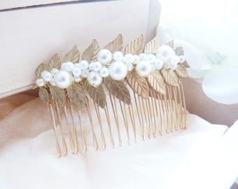 Bohemian and romantic comb brass gold and pearls
