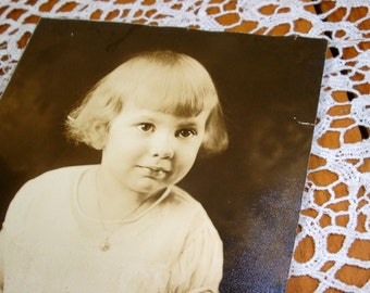 Sepia Photograph Young Girl, Vintage Child Photo, Picture  (326-13)