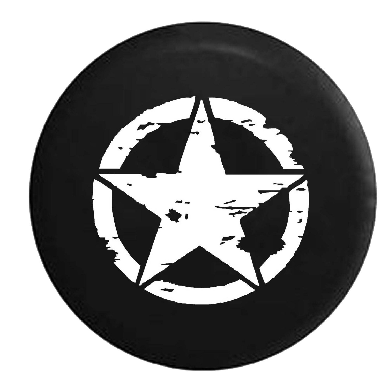 Oscar Mike Distressed Military Star Jeep Camper Spare Tire