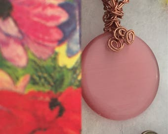 Beautiful Reversible Pink Cats Eye Disc Pendant Necklace