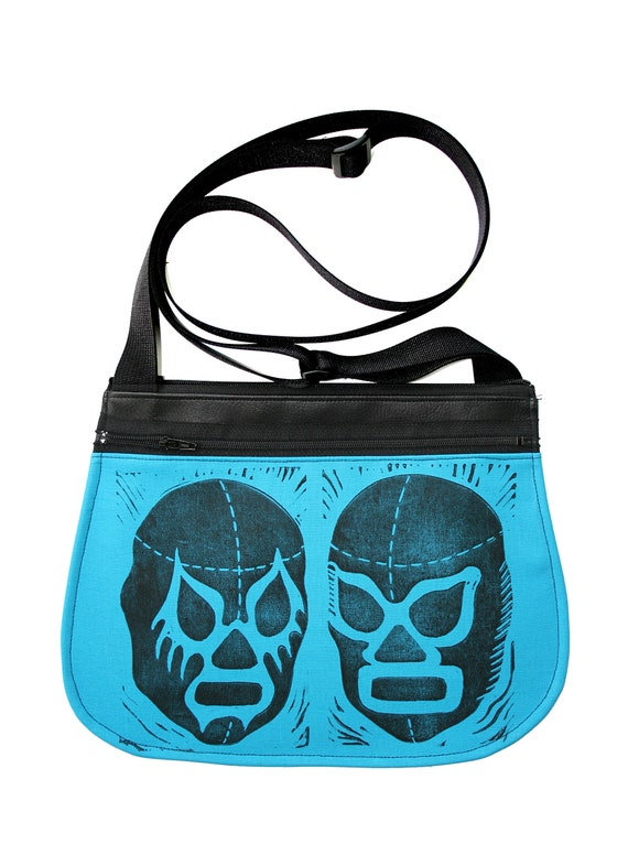Luchadors, block print, turquoise, black vinyl, cross body, vegan leather, zipper top