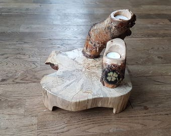 Wooden Design tea candle holders and table.