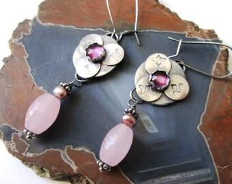 Purple Amethyst, Pink Chalcedony and Pearl Fleur de Lis Dangle Earrings in Sterling Silver Jewelry