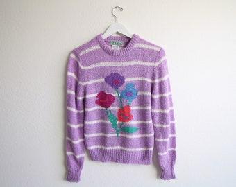 VINTAGE Pullover-Blume-Pullover, die lila Streifen der 1980er Jahre kleine stricken