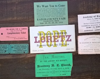 Admission tickets dating from 1866-1916