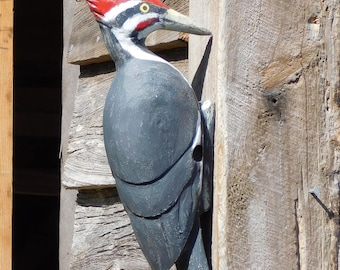 Pileated Woodpecker Hand Carved Wall Art Rustic Woodland Decor