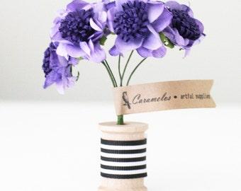 12  Purple Two Tone Pom paper flowers