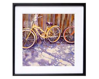 Bicycle Art Watercolor PRINT Travel bike art yellow bicycle Road bike Italian bicycle wall art Watercolour painting bicycle T