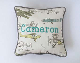 Formica Vintage Air NURSERY ACCENT PILLOW / Airplanes Decorative Pillow / Aviation Theme Decorative Pillow - Made-To-Order