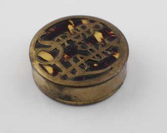 Small Round Rustic Brass and Faux Tortoiseshell Studs and Links Box with Lid