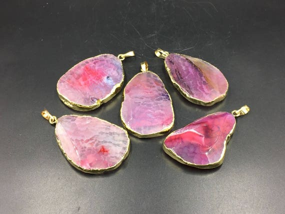 Faceted pink agate pendants gold banded agate slice pendant faceted pink agate pendants gold banded agate slice pendant wholesale agate gemstone pendant wholesale pendants 5pieces clearance sale 04 from stunninggem aloadofball Images