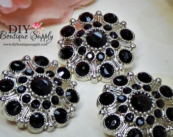 Large Rhinestone Buttons BLACK- Rhinestone Crystal buttons Embellishments Acrylic Flower centers Headband Supplies 28mm 3 pcs 601040