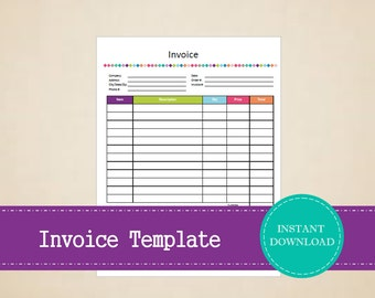Invoice Template Etsy - Business invoice template pdf baby stores online