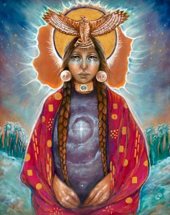 Medicine Woman Tarot By Carol Bridges: 11x14 Fine Art Print Creation Shaman Medicine Woman Hawk