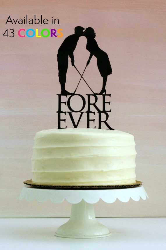 Fore Ever Golf Wedding Cake Topper with Silhouettes MADE TO
