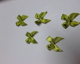 mini green satin bows