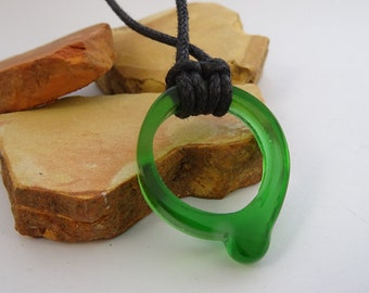 Recycled glass ring pendant on cord