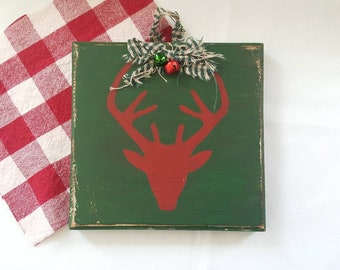 Reindeer, wooden wall plaque, cozy cabin Christmas decor, rustic, plaid, winter blue, snowflake