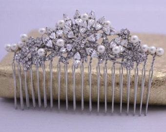 Wedding hair jewelry for bride hair comb Rhinestone hair piece Wedding hair comb pearl hair piece Wedding hair clip Bridal hair accessories