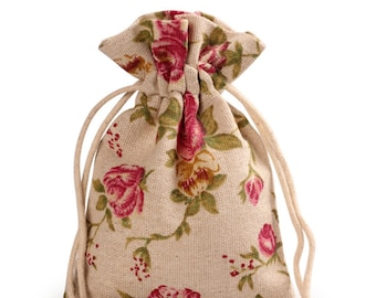 Floral Print Jewelry Bags, drawstring gift bags,  jewelry packaging pouches, favor bags, floral gift bags, drawstring pouches,5pcs, BAG-020