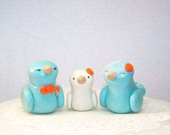 Love Bird Wedding Cake Topper Trio - Choice of Colors