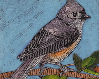 Tufted Titmouse 6 - Original Art, Collograph, Print, Little Gray Bird, sky blue, green, orange red berries, branch