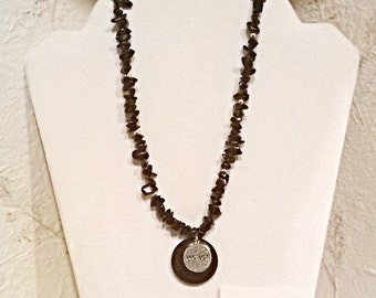 "Necklace For Everyone: Genuine Onyx & 925 Sterling Silver  ""Protect""  Reversible, Assymetical  By ANena Jewelry"