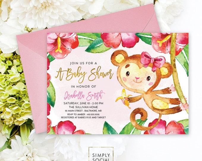 Monkey Baby Shower Invitation - Jungle Hibiscus Floral Pink Boho It's A Girl Floral Baby Shower Invitation Watercolor Calligraphy Printable