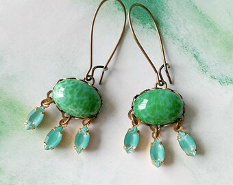 Green Earrings - Green and Turquoise Earring - Aqua Green - Dangle Earrings - Craving Green II (SD1270)