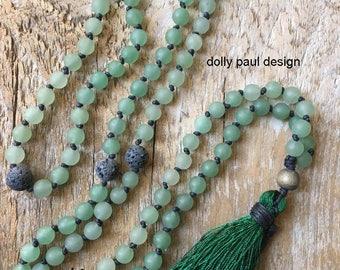 Aventurine Prayer Necklace, Mala, Tibetan Prayer Beads, Energy Stone, Healing Stone, Prayer Necklace, Lava Beads, Diffuser Necklace, Green
