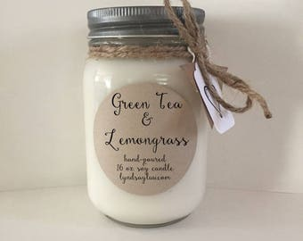 Handmade, Hand Poured, all Natural, Green Tea & Lemongrass, 100% Soy Candle in 16 oz. Glass Mason Jar with Cotton Wick